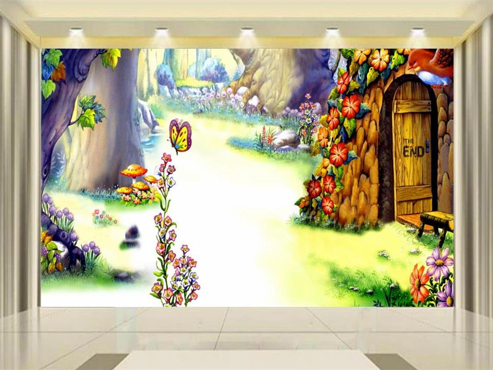 Photo Wallpaper Custom Size Living Room Kids 3d Mural Alice In Wonderland  3d Painting Background Non Woven Wallpaper For Wall 3d Idea