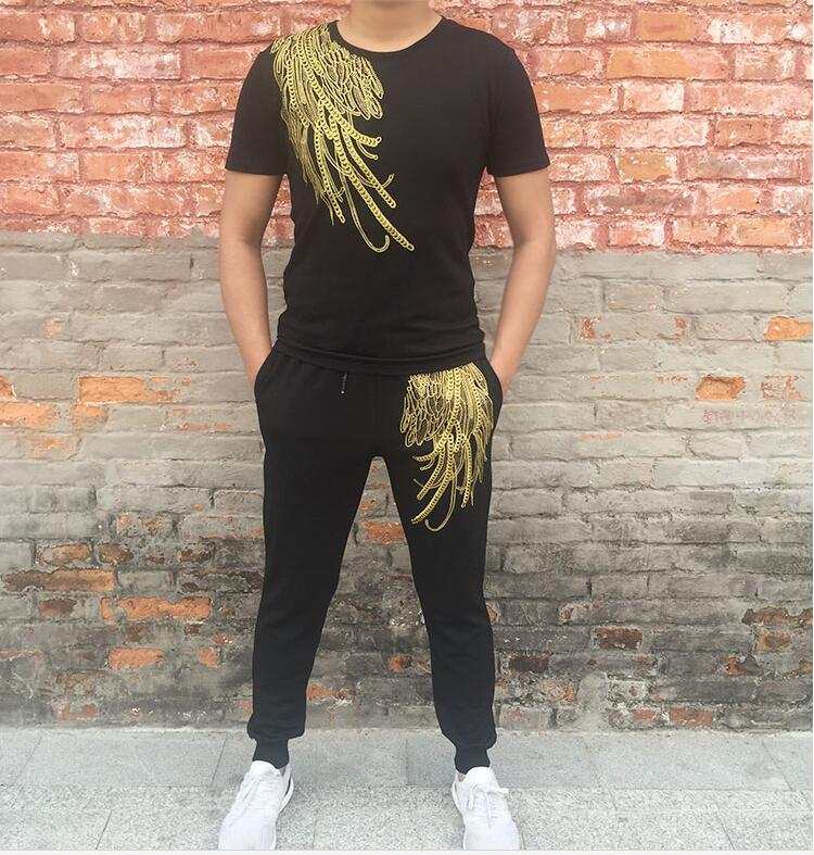 Summer fashion brand new men s casual tracksuit gold line wings embroidered mercerized cotton suit thin