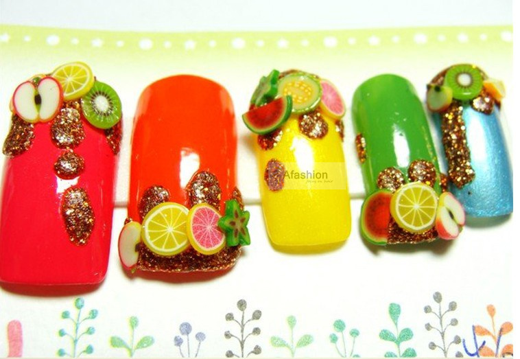 50pcs fimo canes polymer clay 3d nail art Stickers fruit flower cutted rolls stamp decal tip cute printer DIY free shipping