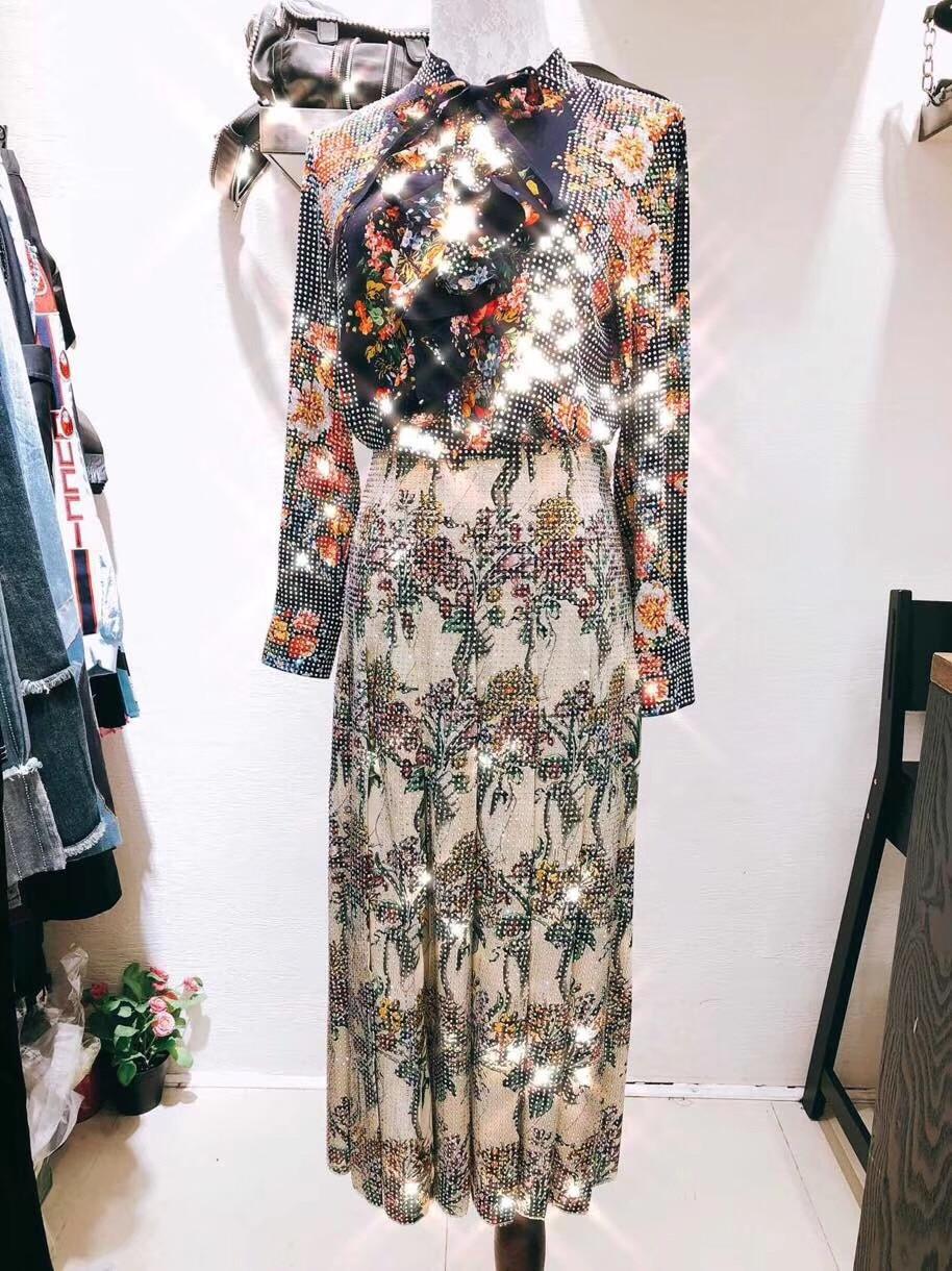 2018 woman diamond embellished flora printed pleated ankle length skirt dress