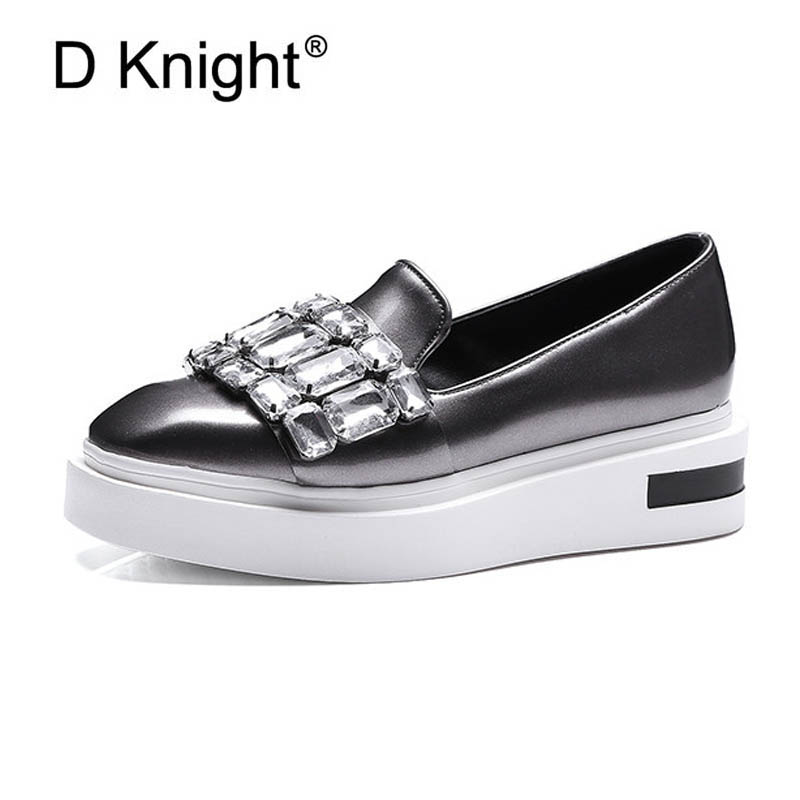 Crystal Decoration Loafers Women Spring Fashion Flats Women Causal Slip-on Platform Shoes for Girl and Vacation Green US Size 12