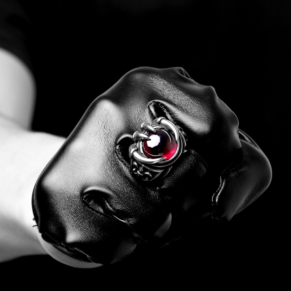 Stainless Steel Wolf claw Punk Ring with red Retro Vintage Biker Large Antique Black Men 39 s Rings For Seal men Rock mens Jewelry in Rings from Jewelry amp Accessories