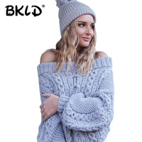 BKLD Sexy Off Shoulder Autumn And Winter Women Basic Pullover Sweaters Female Strapless Sweater Thick Sweater