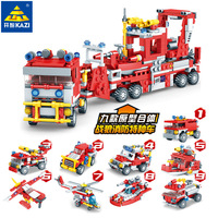 Open Fire Control Rescue Command Car Helicopter Pitcher Vehicle 9 Combine 1 Children Boy Assembling Building Block Plastic Toys
