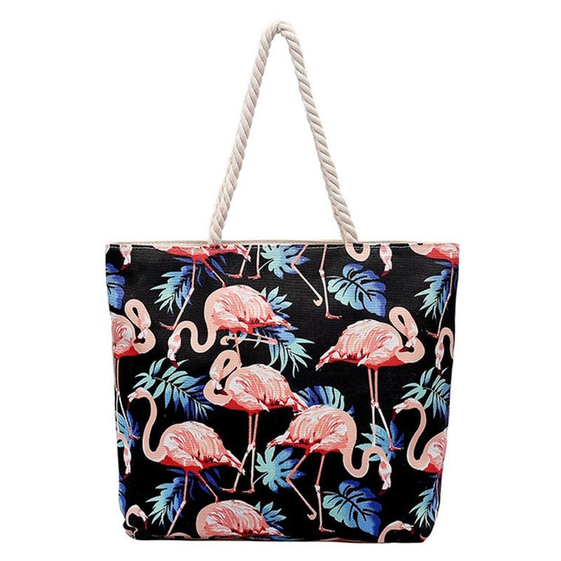 Summer Bags Ladies Flower Print Canvas Rope Handle Shoulder Bag
