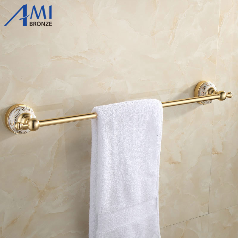 ФОТО 31GAP Series Golden Polish Aluminum Porcelain Base Wall Mounted Single Towel Bar Bathroom Accessories Towel Rack Towel Shelf