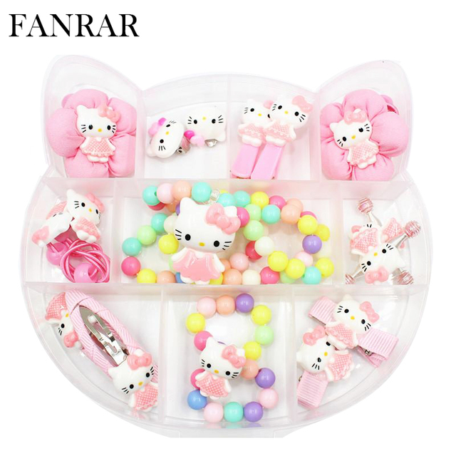 d7214caee FANRAR Fashion Jewelry Set Cartoon Hello Kitty Girl Necklace Baby Bracelet  Kids Earrings Child Hair Accessories Party Gift R081