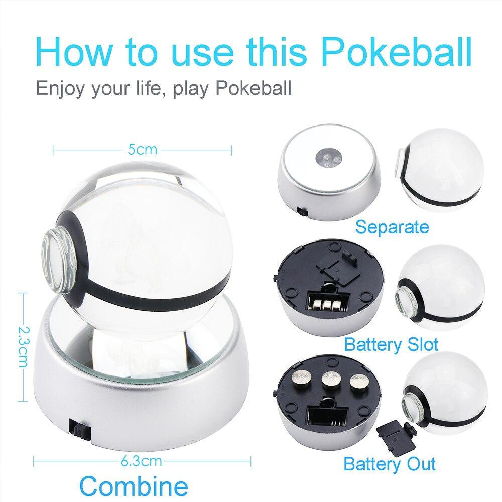 HUI YUAN 3D Crystal Ball LED Lamp For Pokemon Series Eevee/Gardevoir/Raichu 5CM Desktop Decoration Light Glass Ball HY-667