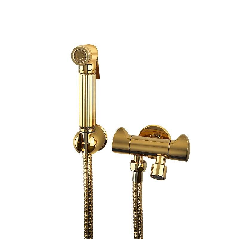 Best Luxury Gold Brass Bathroom Hand Held Bidet Sprayer Faucet Spray