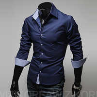 Hommes décontracté mode nouveau designer slim fit à manches longues chemises classiques hommes taille 3xl hommes chemises chemid se homme