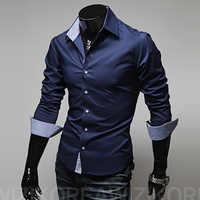 Męska koszula na co dzień moda nowy projektant slim fit z długim rękawem klasyczne koszule męskie rozmiar 3xl koszule męskie chemid se homme