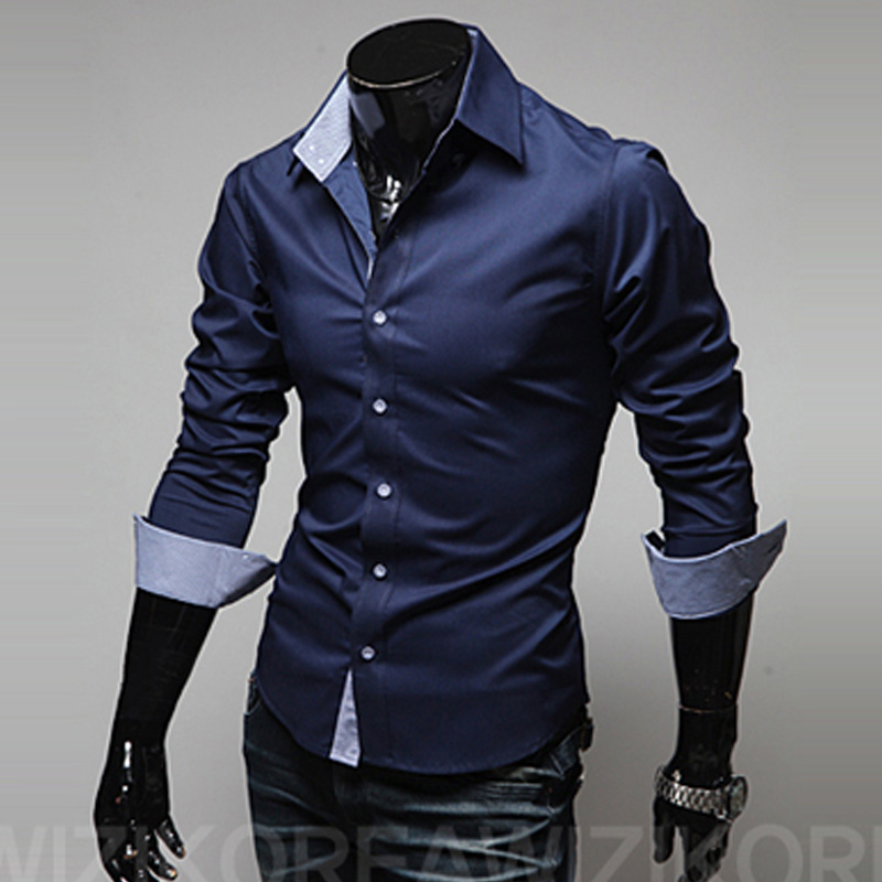 mens casual shirt fashion new designer slim fit long sleeve classic shirts men size 3xl male shirts chemid se homme