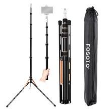 Fosoto ft 220 tripé de câmera de fibra de carbono com 1/4 & 3/8 cabeça de parafuso suporte de luz led para photo studio iluminação fotográfica guarda chuva