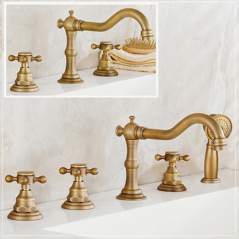 Antique Brass 2 & 3 Handles Deck Mount Widespread Bathtub Basin Sink Faucet Retro Style Tub Filler Brass Handshower цена