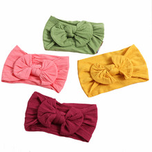 2018 New 1PC Fashion Baby Girls Headband Kids Bunny Rabbit Bowknot Turban Nylon Headband Elastic Hair Band Headwrap Headwear(China)