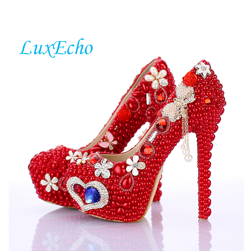 Women's Wedding shoes woman Red pearl thin heels platform shoes Party dress shoes shallow mouth round toe high heels shoes love moments pearl shoes woman white and red wedding shoes bride pumps high heels platform dress party shoes for women ladies