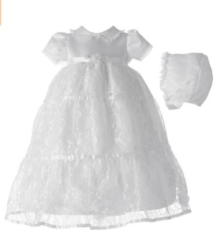 2016 Newborn Baby Girl Christening Dress White/Ivory Baptism Gown Lace Boy Robe Satin 0-24month WITH BONNET