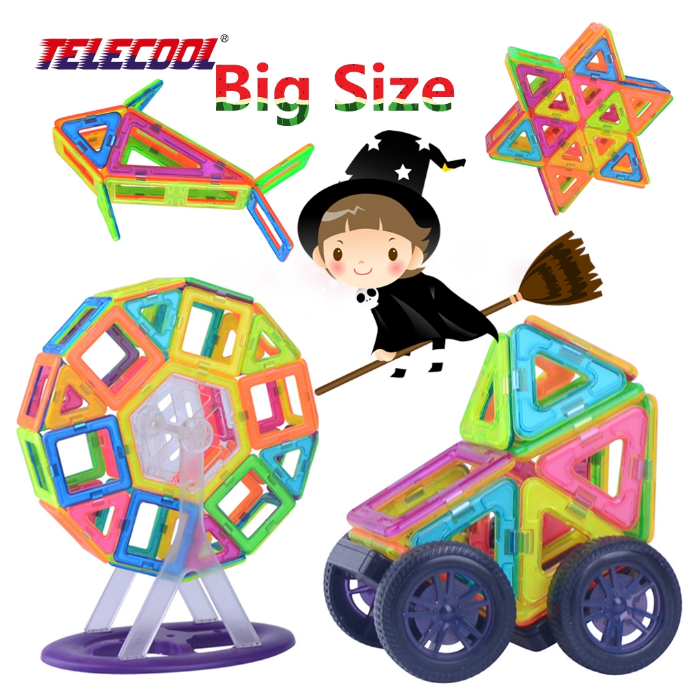 TELECOOL Big Size Magnetic Designer Building Blocks Toys 41/89/102 Pieces Inspire Adult & Kids Construction Education Toy 150pcs joy mags brand magnetic tiles models blocks diy building toys inspire adult
