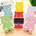 Universal Cute Bear Design Phone Holder Wood Mobile Phone Mount Stands Bracket Support For iPhone For Samsung Bracket MN127