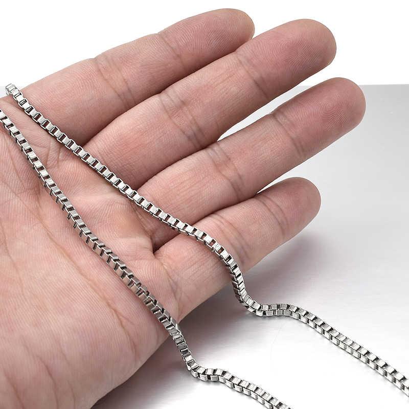 GOKADIMA 2.4mm/3mm szerokości, 316L skrzynka ze stali nierdzewnej łańcuch naszyjnik, biżuteria akcesoria, hurtownia WN009