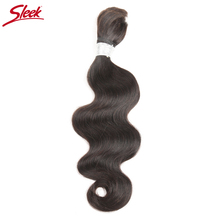 Sleek Remy Human Hair Brazilian Body Wave Bundle Hair For Braiding In Natural Color 8 To30 Inch Crochet Braids No Weft Hair Bulk
