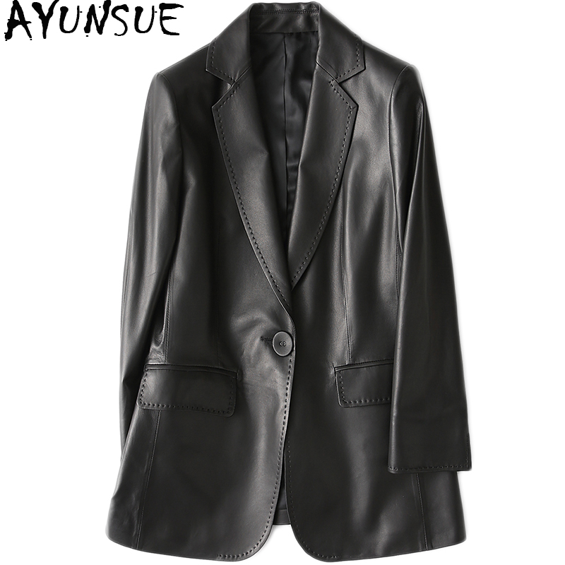 AYUNSUE Women Casual Genuine Leather Jacket 2019 Spring New Real Sheepskin Coat Female Slim Ladies Jackets Outerwear YY1089A