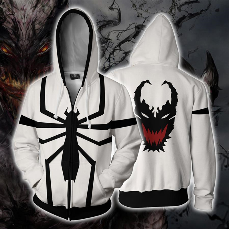 Scarlet Spider Sweatshirts Spiderman Cosplay man and lady Costume Autumn 3D Printing fashion zipper Jacket Hooded sweater