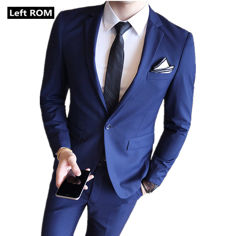 Jackets + Pants / 2018 New High end Brand Groom Wedding Dress Formal Suit 2 Piece / Mens Solid Color Slim Business Casual Suits