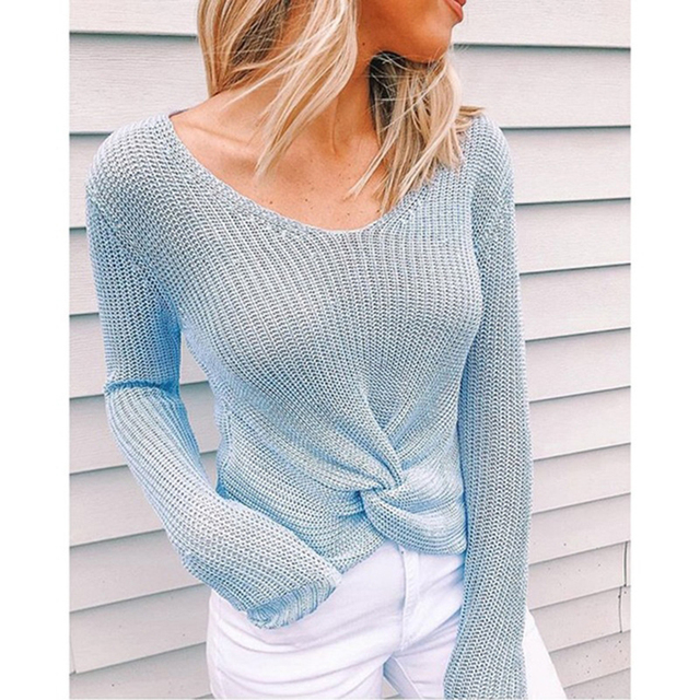 Sleeve Solid Color V-neck Sweater 4