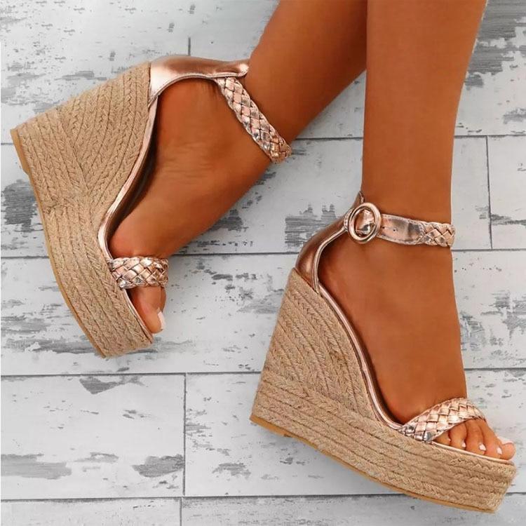 Women Sandals Buckle Platform Wedges Ankle-Strap Heel Gladiator Ladies Shoes Open-Toe
