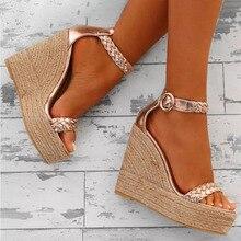 Sandalias de plataforma con correa en el tobillo y punta abierta para mujer, zapatos de gladiador con tacón de cubierta superalta, sandalias de verano hebilla