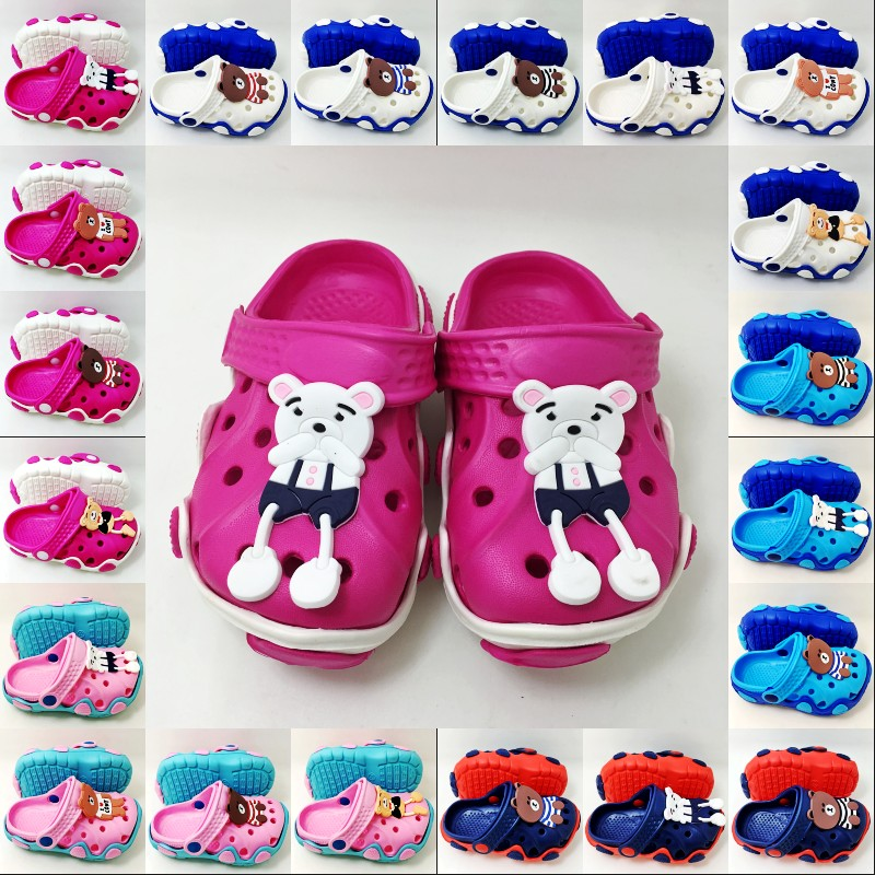 Children Boys Girls Garden Beach Clogs Cartoon Brown Bear Kids EVA Slip On Sandals Slippers Shoes