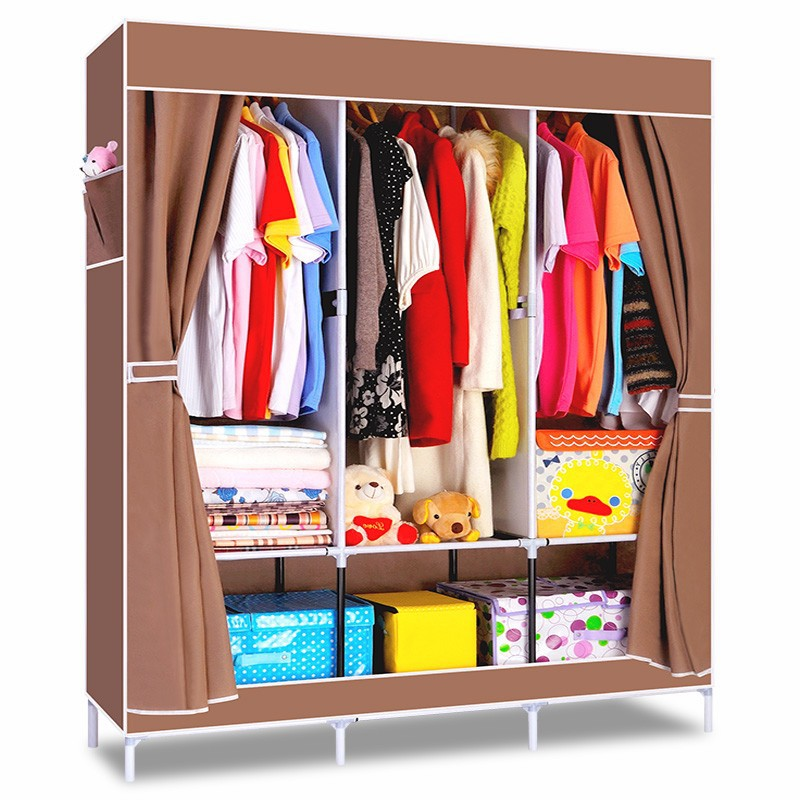 House Scenery Non Woven Folding Fabric Wardrobe Storage Metal Portable Closet Clothes Bedroom Furniture Fashion Cabinet