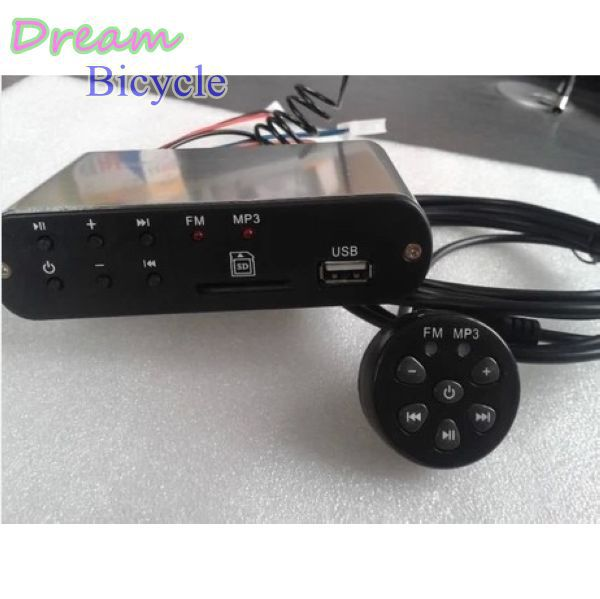Motor Vechile FM Radio12V Motorbike Motorcycle MP3  Scooter Audio With Headphone Slot,ATV  Sound System Wire Control