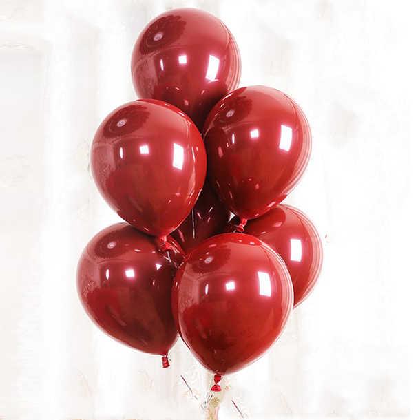 5 pièces 10 pouces 4.5g Double couche Macaron Rouge Coeur Ballons Décoration De Fête Gemme Rouge Latex Ballons Décorations de Fête D'anniversaire De Mariage