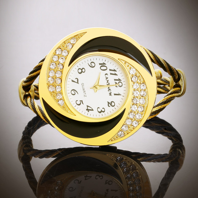 Rhinestone Watch Women Clock Cuff Bangle Elegant Brand Rhinstone Wire Cable Band Lady Watches Reloje Mujer Montre Bracelet Femme
