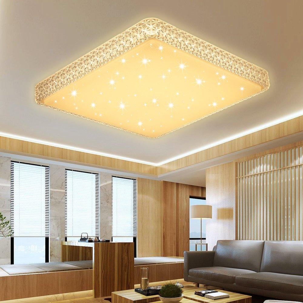 Natural Warm White Modern 60W energy saving Square Acrylic ceiling lights for Bedroom Foyer Bathroom kitchen