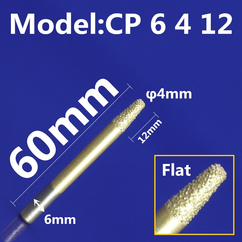US $9 57 5% OFF Model CP6 4 12,1PCS,CNC Diamond stone engraving bit for  marble,bluestones and sandstone,taper flat bottom cutter,relief cone bit-in