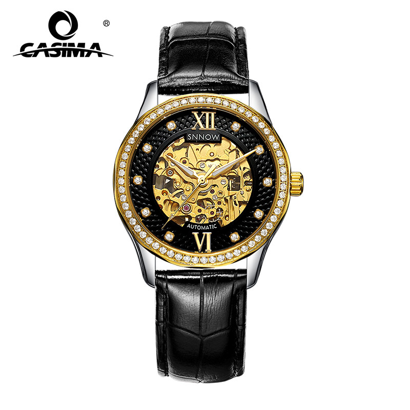 Luxury Brand watches men gold hollow dial leather strap automatic mechanical men watches waterproof 100m CASIMA#8805 все цены