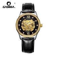 Marque de luxe montres hommes or creux cadran bracelet en cuir automatique mécanique hommes montres étanche 100 m CASIMA #8805