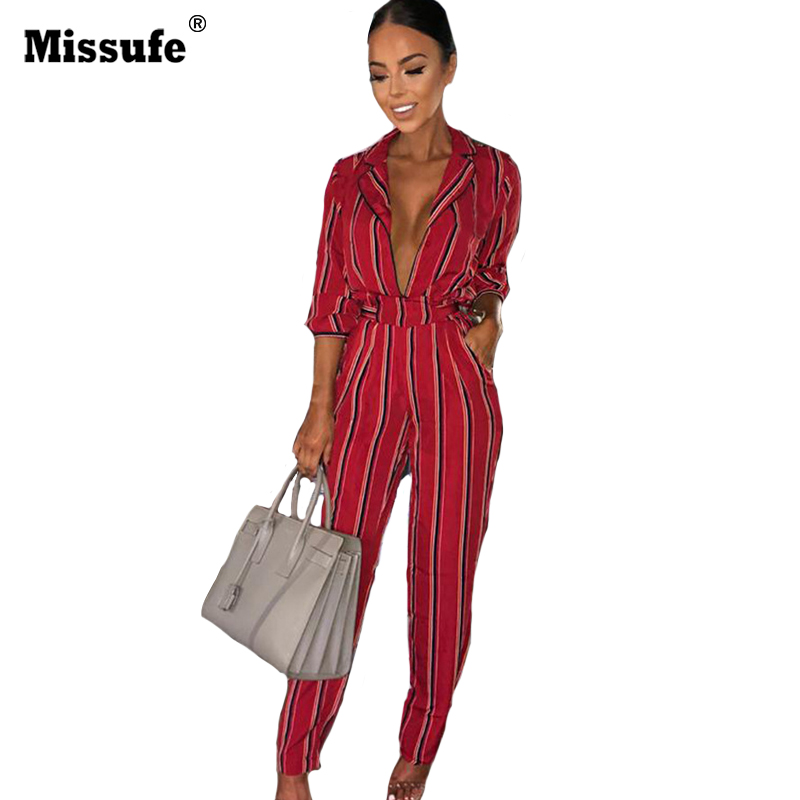 Missufe Notched Striped Women   Jumpsuits   With Blelt Lace Up Overalls Female Rompers Slim Playsuit Long Sleeve Bodysuits For Women