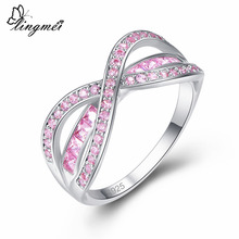 Lingmei Wedding Band Cross Fashion Round Cut Pink & Red Zircon Silver 925 Ring Size 6 7 8 9 For Jewelry Gifts Elegant