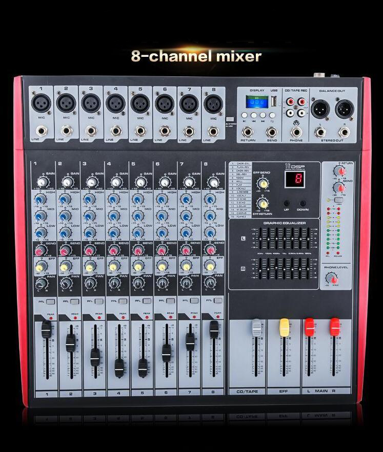 8 Channels Good Quality Hot Sell USB Professional Audio DJ Mixer Mixing console audio mixer