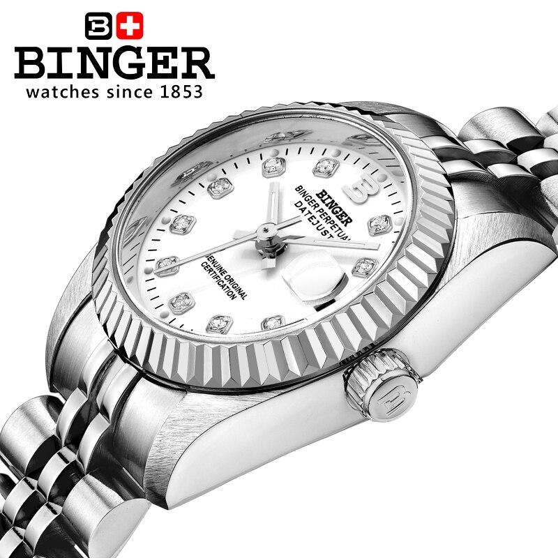 Switzerland Wristwatches BINGER Womens watches self-wind automatic winding mechanical Wristwatches BG-0375Switzerland Wristwatches BINGER Womens watches self-wind automatic winding mechanical Wristwatches BG-0375