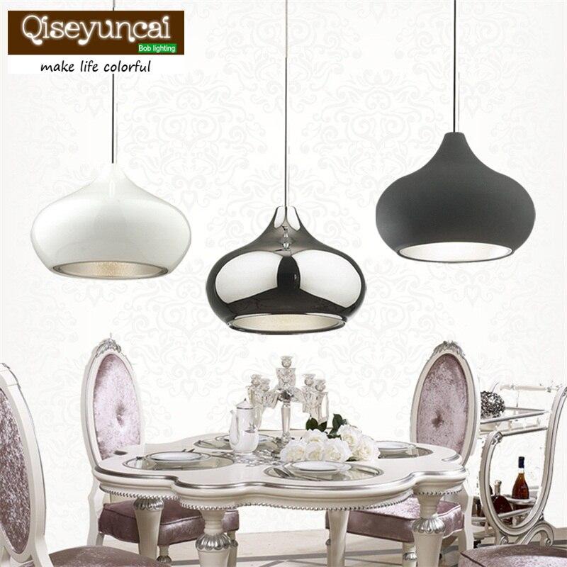 Style américain Restaurant suspension lampe moderne cuisine pendentif LED lumière Chrome fer plaqué 110-240 V salle à manger lumière