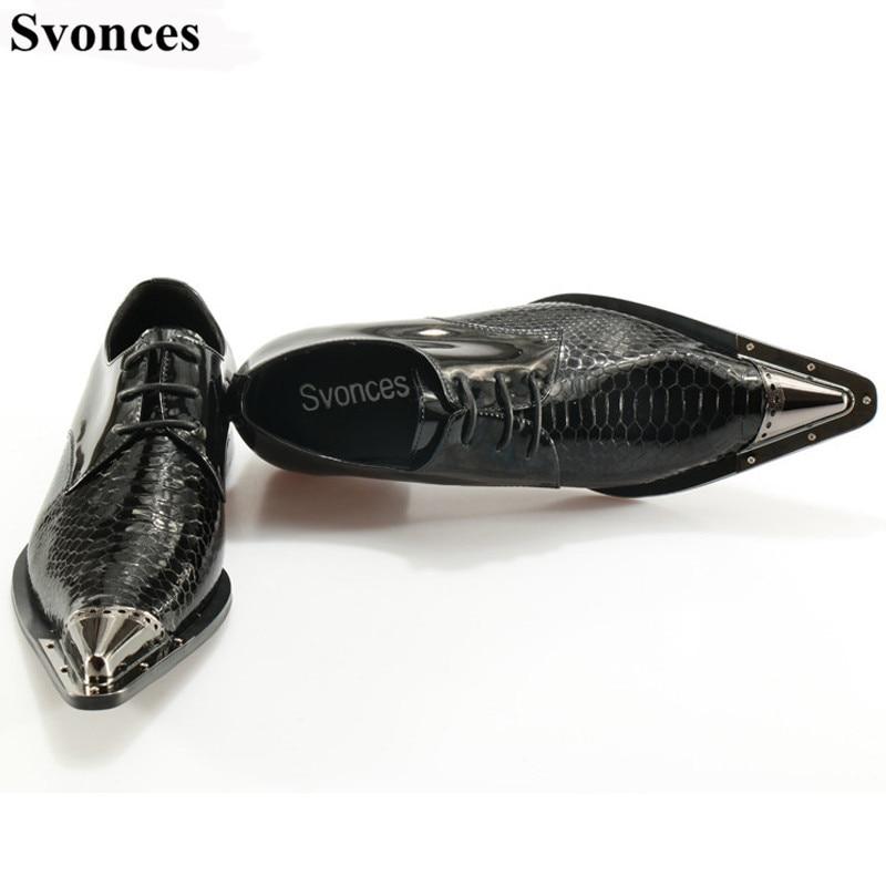Orteil Homme Bureau Lacets Svonces Cuir Partie Métal À Python Serpent Véritable Noir Formelle En Chaussures Robe De Mariage Hommes C6rCAcW7