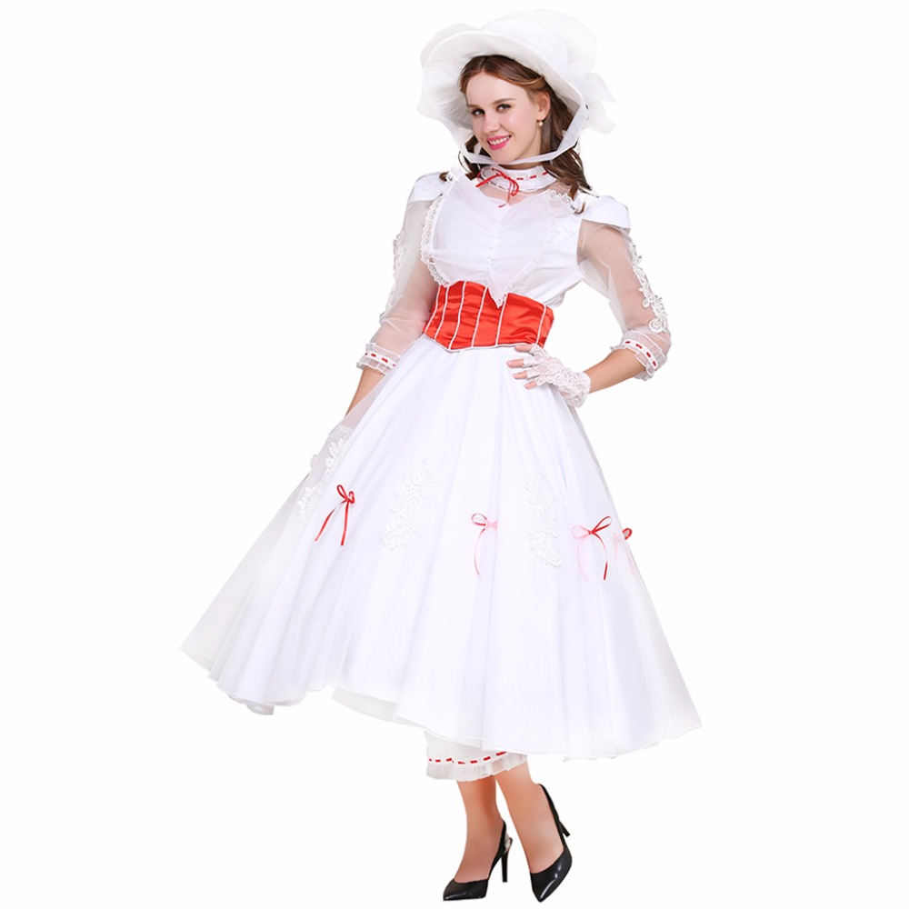 Cosplaydiy Custom Made Mary Poppins cosplay costume women dress and pants with hat cosplay costume