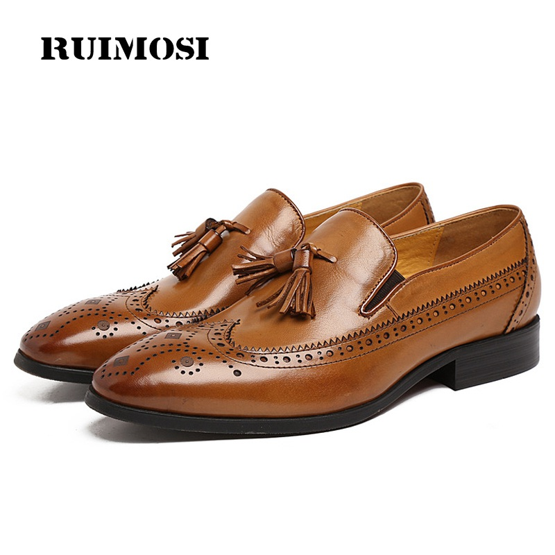 RUIMOSI Vintage Luxury Brand Man Formal Dress Shoes Genuine Leather Brogue Loafers Pointed Toe Men's Tassels Wing Tip Flats EH48