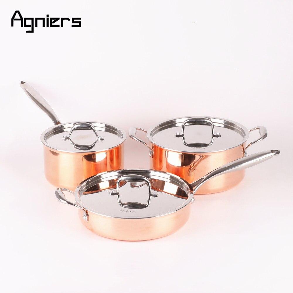 Agniers высокое качество 3 сковороды 6 шт. набор медной кухонной посуды пятислойная медная плакированная сталь 20 см соус сковорода+ 24 см суповые горшки+ 26 см сковорода Saute
