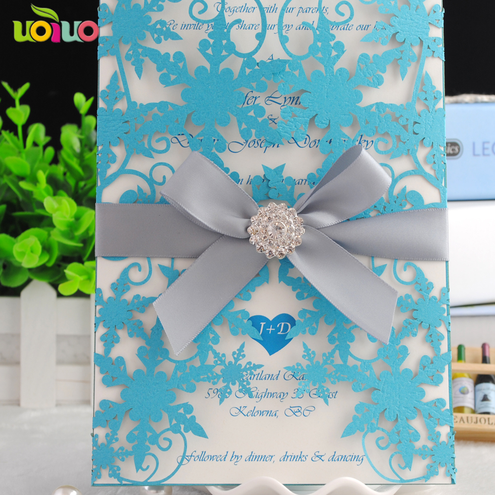Chinese Supplier Wedding Invitation Card Wedding Favors Blue